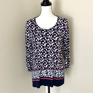Chico's blue pink and white 3/4 sleeve top size M